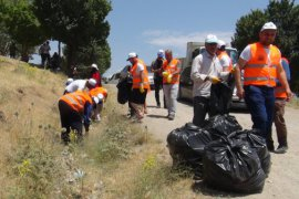 Van Gölü'nün Tatvan sahilinde çöp toplama kampanyası