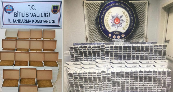 Bitlis'te 45.730 paket kaçak sigara ve 118 kg tütün mamulü ele geçirildi