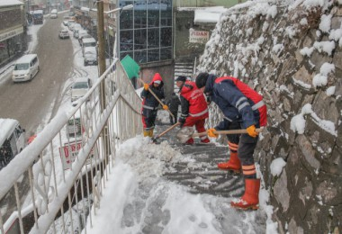 Bitlis'te kar temizle ve tuzlama çalışmaları devam ediyor