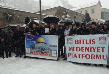 Bitlis'teki STK'lar, Trump'ın açıklamasını protesto etti