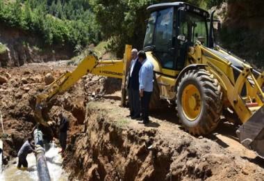 Çökme meydana gelen su kaynağında çalışmalar tamamlandı