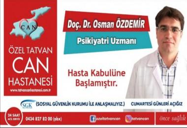 Psikiyatri Uzmanı Doç. Dr. Özdemir, Can Hastanesi'nde hasta kabulüne başladı