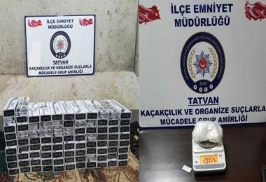 Tatvan'da kaçak sigara ve uyuşturucu operasyonları